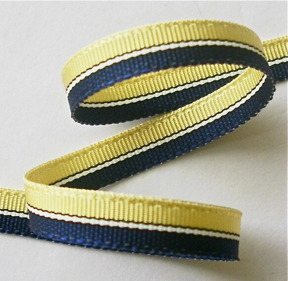 "***38ac007 3/8"" (5 YDS) Acetate Navy/Yellow/White CLOSEOUT!"