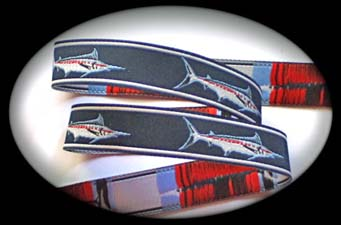 "Fish3a - 5/8"" (25yds) Marlin Navy, Red and White"
