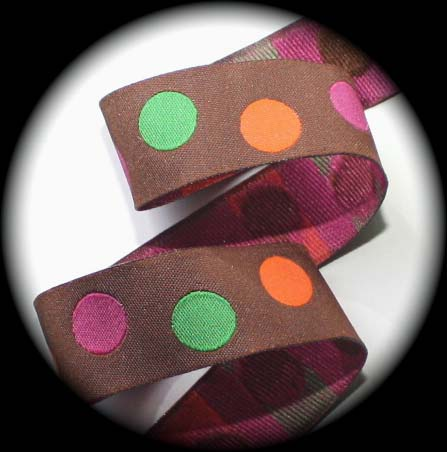 "DOT 7/8"" (3 YDS) BROWN/PINK/ORANGE/GRN LIMITED"