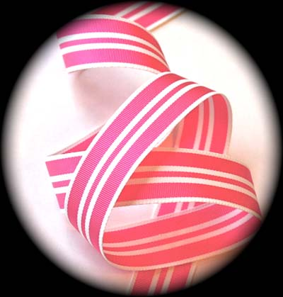 "78ac9517   15/16"" HOT PINK/WHITE ACETATE STRIPE (3 YDS)"