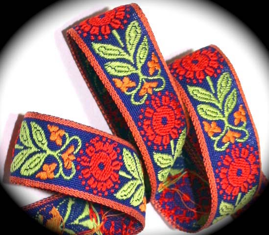 "*LEXIE- 1"" (3 YDS) BLUE/CORAL/RED/LIME  VINTAGE"