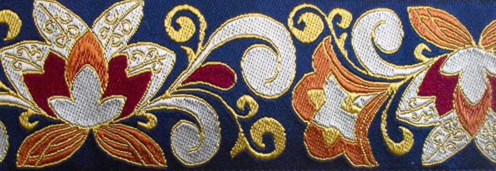 "CLOISONNE2 - 1 7/8"" (3 yds) (NOT METALLIC) navy/tan/cranberry/ru"