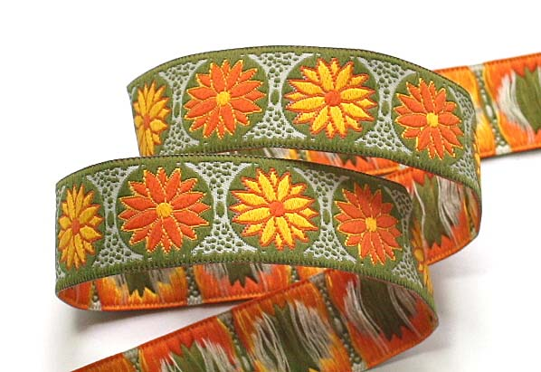 "DAISY DOT FLOWER5C - 1"" (3 yds) OLIVE/ORANGE/YE"
