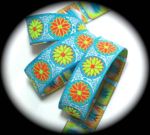 "DAISY DOT FLOWER11 - 1"" WH/TURQ/ORANGE/LIME (3 YDS)"