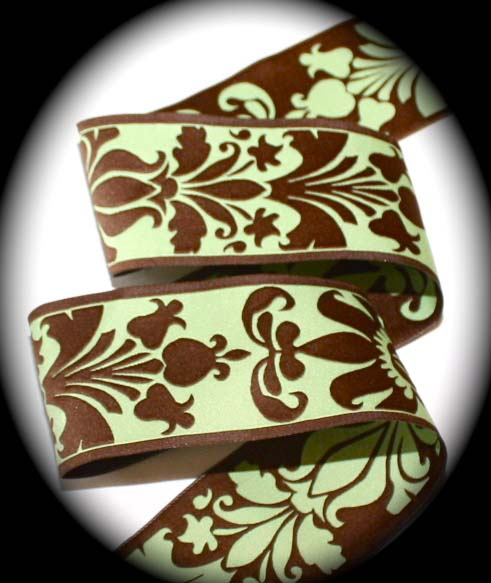 "DAMASK DESIGN6 - 1 1/2"" CELERY/CHOC. BROWN (3YDS)"