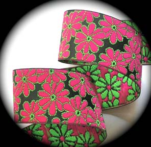 "**DOTFLOWER19 - 1 7/8"" BLACK/PINK/LIME (3 YDS)"