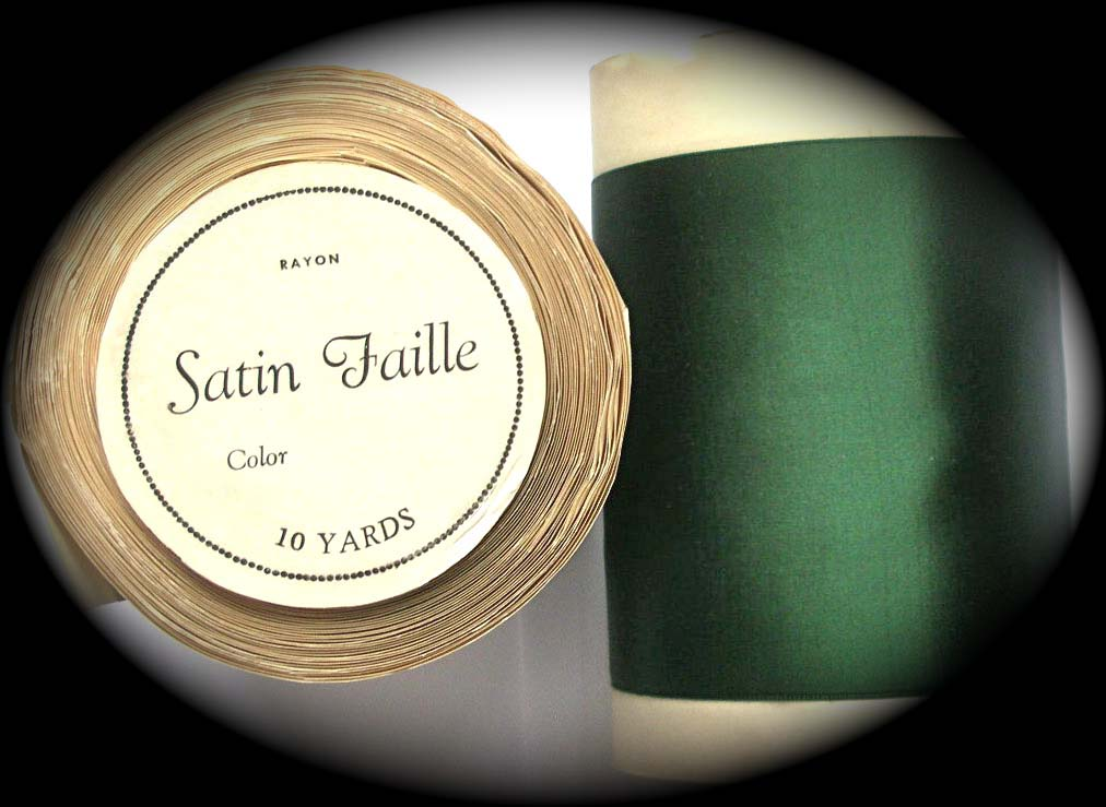 "VINTAGE SATIN FAILLE - 4"" DARK GREEN 100% RAYON (10 YD ROLL)"