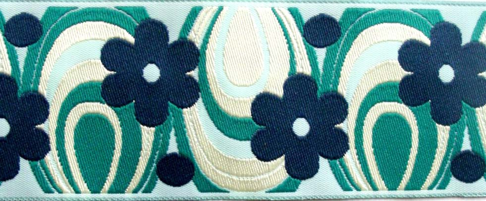 "FLOWER POWER46 1 7/8"" (3 YDS) TEAL/BLUE/AQUA/IVORY"