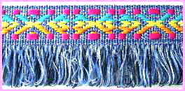 "f  - 1 1/4"" (3 yds)  Denim Braid W/Fringe"