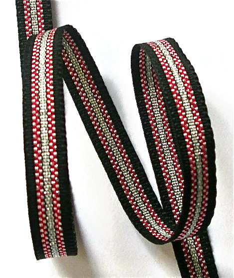 "38AC924 3/8"" BLACK/RED/SILVER (5 YDS)"