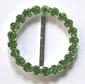 "rb256 1 1/4"" (id) x 1 3/4 "" Peridot Rhinestone Buckle W/PRONGS c"