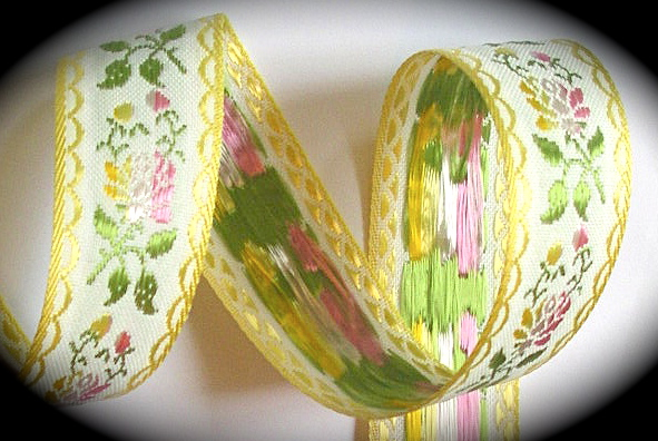 "SWISS 1"" (3 yds) YELLOW/WHITE /OLIVE/PINK/LT. YELLOW gorgeous!"