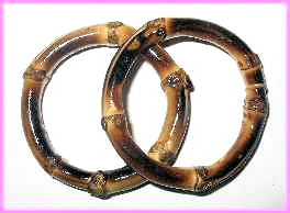 "BBAM164 1 1/2"" (ID) BURNT BAMBOO RINGS (PAIR)"