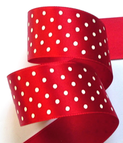 "DOT75 1 1/2"" RED/WHITE SWISS HEAVY SATIN (3YDS)"
