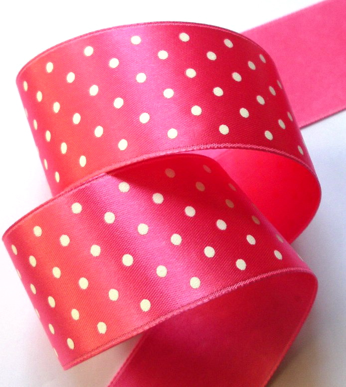 "DOT75 1 1/2"" HOT PINK/WHITE SWISS HEAVY SATIN (3 YDS)"