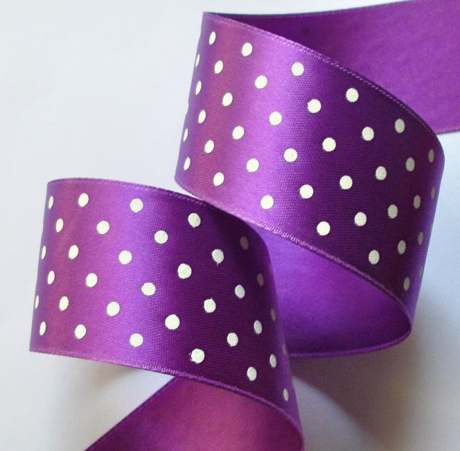"DOT79 1 1/2"" LT. PURPLE/WHITE SWISS HEAVY SATIN (5 YDS)"