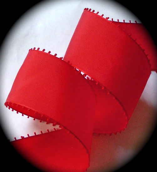 "PICOT25 2"" RED Picot Edge (3 Yards)SWISS"