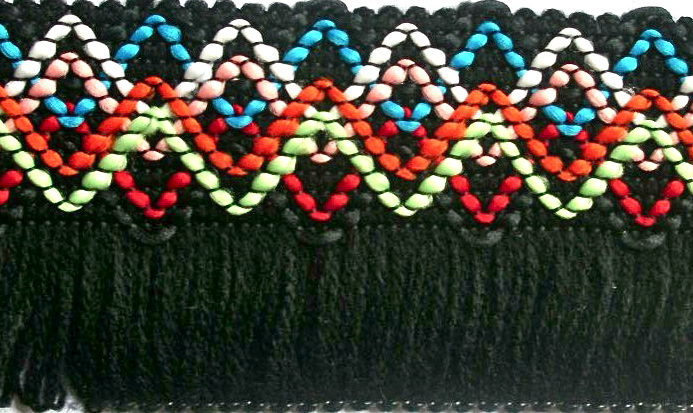 "f2   2 1/4"" (3 yds)  Fringe Black/blue/Orange/Mint/Red"