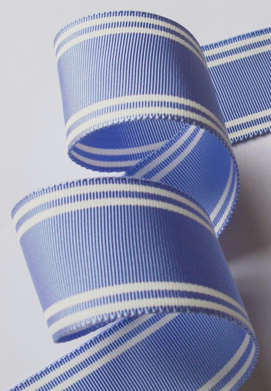 "112ac000  1 1/2"" PERIWINKLE BLUE/WHITE STRIPE ACETATE (3 YDS)"