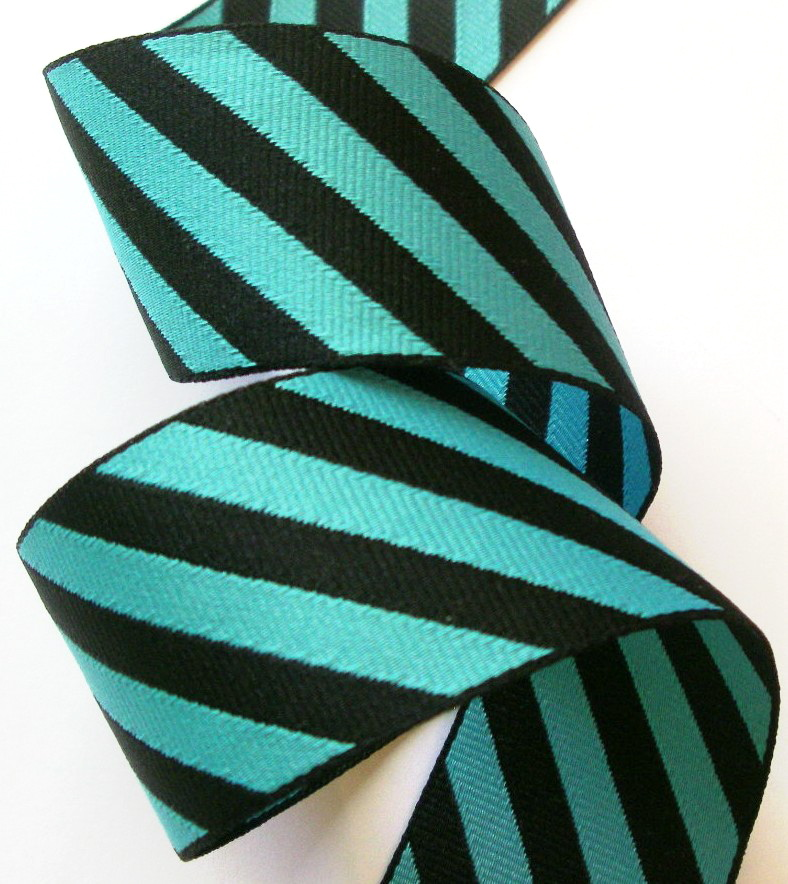 "*DS16  1 1/2"" (3 yds)  BLUE/BLACK DIAGONAL STRIPES"