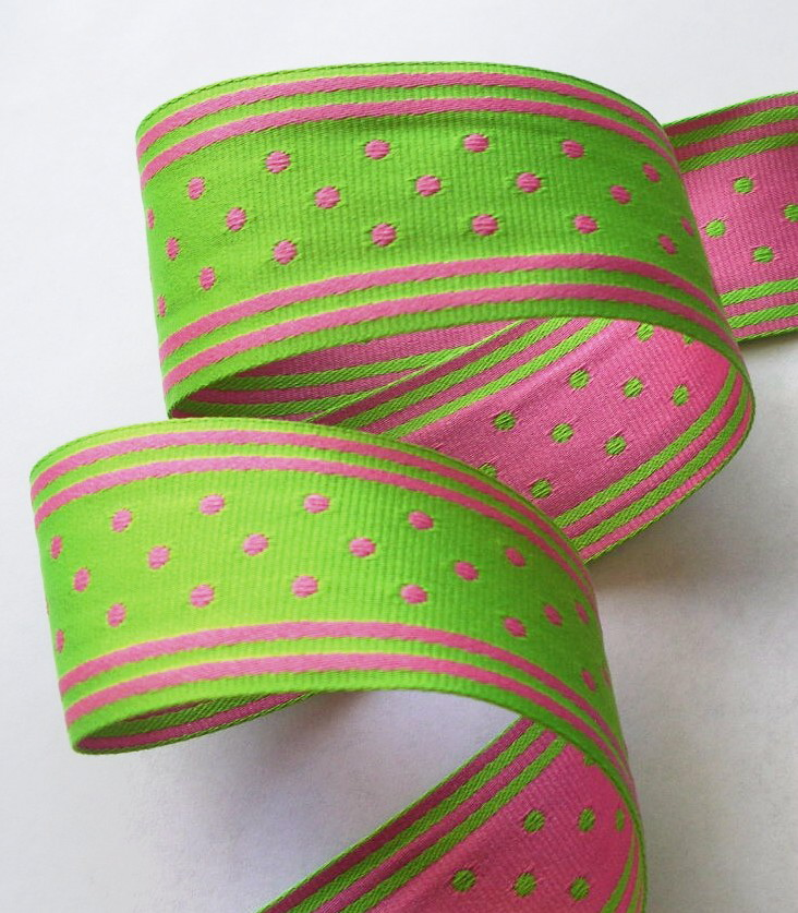 "GPD164 1 1/2"" GREEN/PINK REVERSIBLE STRIPES/DOTS (5 YDS)"