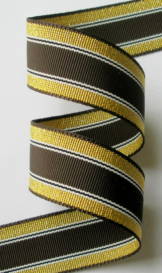 "78AC107 15/16"" ACETATE BROWN/GOLD/WHITE (5 YARDS) A BEAUTY!!"