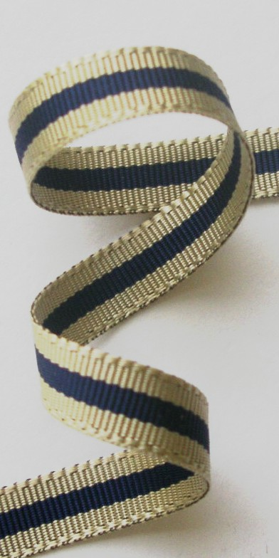 "***38ac002 3/8"" (5 YDS) Acetate Khaki/Navy CLOSEOUT!!!!"