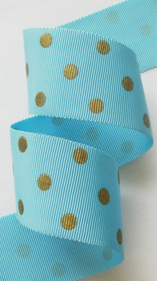 "112AC7566 1 1/2"" (3 YDS)  LT. BLUE/GOLD POLKA DOT ACETATE"