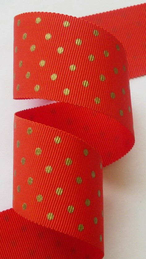 "112AC7569  1 1/2"" (3 YDS)  ACETATE  ORANGE/GOLD SWISS DOTS"