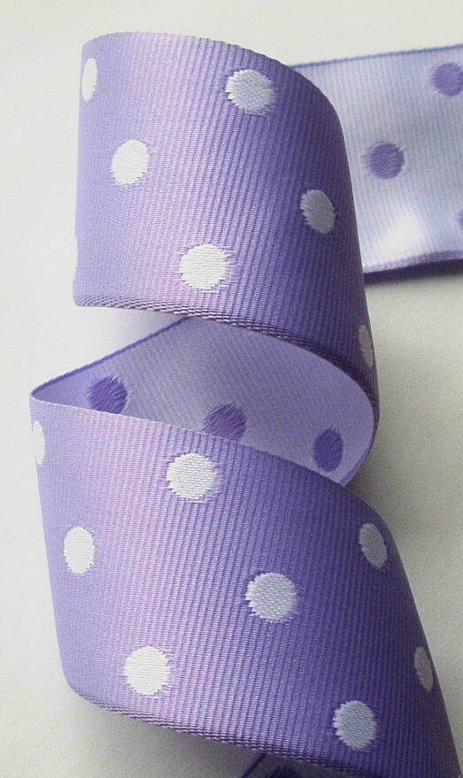 "*GPD185 1 1/2"" LAVENDER/WHITE DOTS REVERSIBLE (5 yds)"