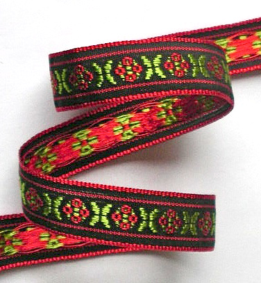 wj174 12MM BLACK/RED/LIME WOVEN JACQUARD (5 YARDS)