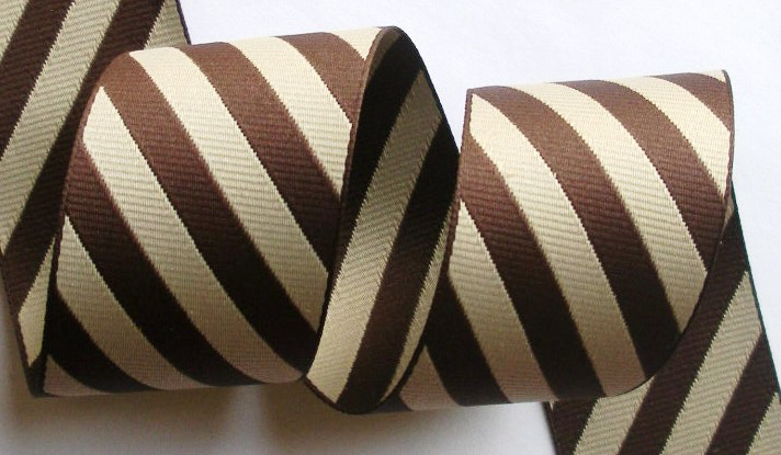 "*DS10  1 1/2"" (3 yds)  BROWN/TAN  DIAGONAL STRIPES"