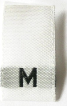 "SIZE TAG1 - WHITE W/BLACK - M- 500/PKG 1/2"" X 1 7/8""(FOLDED 3/4"""