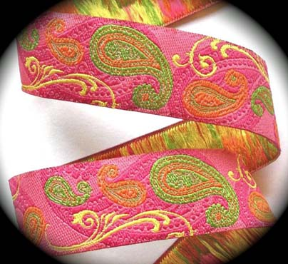 "PAISLEY*13 - 1"" (3 YDS) PINK/ORANGE/LIME/YELLOW"