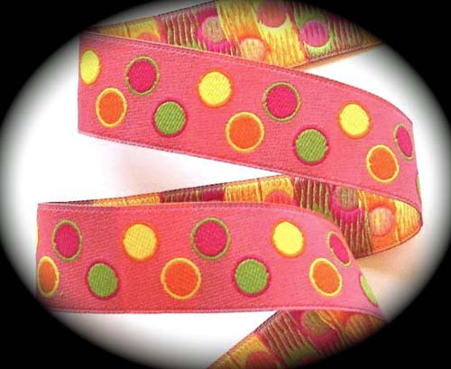 "PAISLEYDOT*4 -  1"" (3 YDS)  PINK/LIME/PINK/ORANGE"