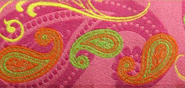 "PAISLEY2- 1 1/2"" (3 YDS) PINK/ORANGE/LIME/YELLOW"