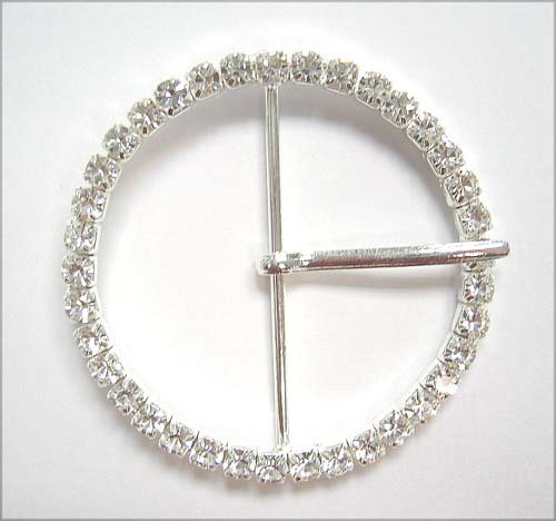 "RB247 1 3/4"" (id) x 2 "" (od)ROUND RHINESTONE BUCKLE - NO TOGGLE/"