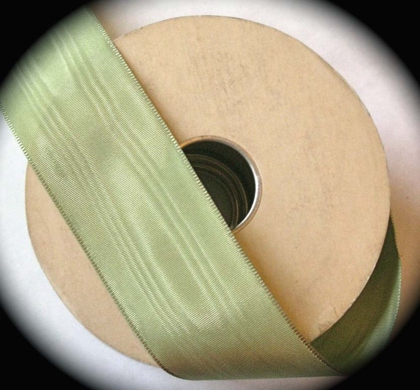 "TAFFETA MOIRE'3422 - 1 1/2"" SAGE GREEN  ALL RAYON (3YDS"