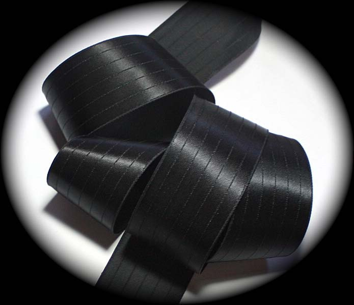 "SATIN44 - 1 1/2"" BLACK RIBBED (10 YDS) VINTAGE"