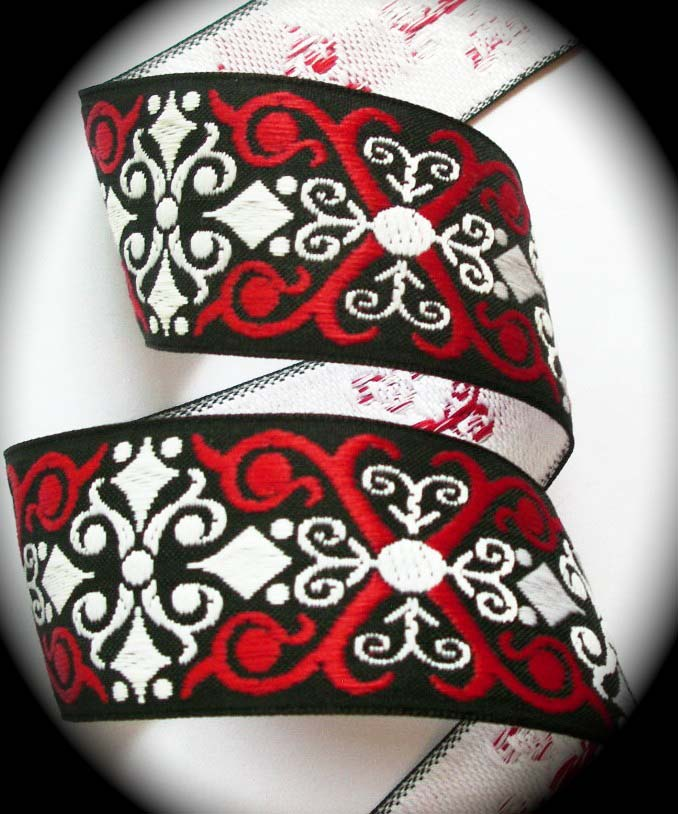 "SCROLL6  1 1/2"" (3 yds) BLACK/RED/WHITE X'S"