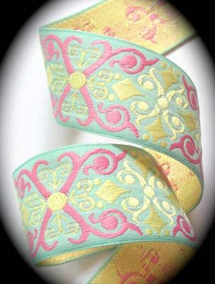 "SCROLL22 1 1/2 "" (3 yds)CUSTOM HEAVY WOVEN BLUE/PINK/BUTTERCUP"