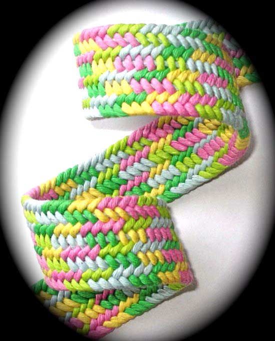 "CUSTOM MULTI   1 1/4"" (3 YDS)  BRAIDED WEBBING-pink/blue/yel"