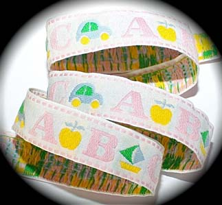 "ABC4-1"" (3 YDS)ABC'S WHITE/PINK/BLUE/YELLOW/VINTAGE"