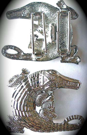 "ALLIGATOR BUCKLE 2 1/4""H X 2 3/4W RHODIUM"