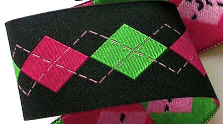 "ARGYLELSB6 1 1/2"" (3 YDS)  BLACK/ HOT PINK/ LIME"