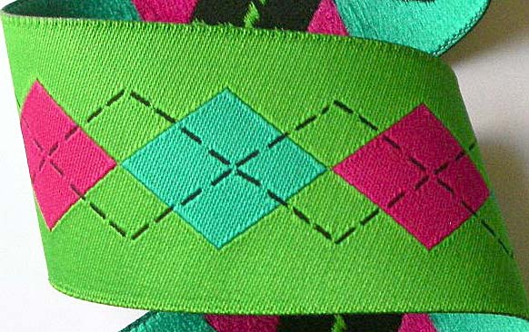 "ARGYLELSB5 1 1/2"" (3 YDS)  SPRING GREEN/ HOT PINK/TEAL"