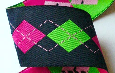 "ARGYLELSB2 1 1/2"" (3 YDS)  NAVY / HOT PINK/ LIME"