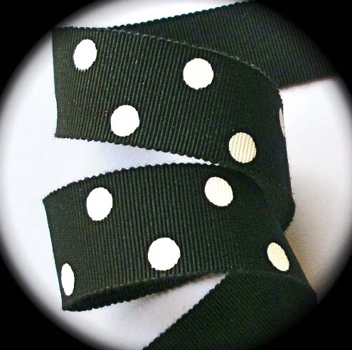 "**COTTON/RAYON 15/16"" BLACK/OFF WHITE DOTS (5 YDS)"