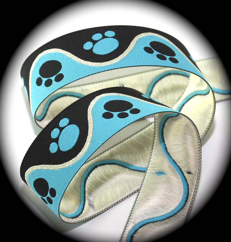"PAWS4- 1"" (3 yds) BLUE/BLACK/CREME"
