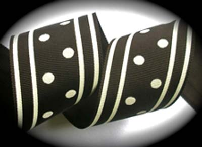 "GPD115 2""BROWN/OFF WHITE DOTS/STRIPES - (3 YARDS) CLOSEOUT!"